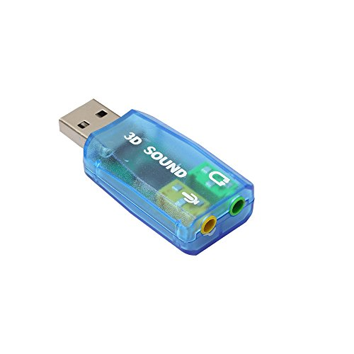 Vovotrade Audio Adapter 3D Soundkarte 5.1 USB auf 3,5 mm Mikrofon Kopfhörer Buchse Stereo Headset_Blau Usb-audio-dongle