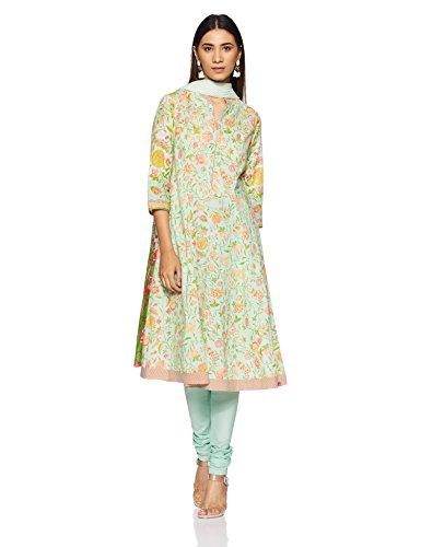 BIBA Women's Anarkali Salwar Suit (SKD5411_SEA GREEN_36)