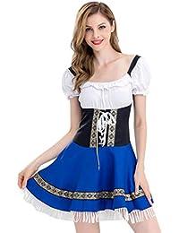 120aeee08f8ec LOVELYOU Femme Fille Robe ÉTé Automne Sexy Élégant Chic Simple Mode  Halloween Oktoberfest Costume Bière Maid