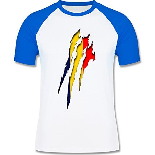EM 2016 - Frankreich - Rumänien Krallenspuren - zweifarbiges Baseballshirt für Männer Weiß/Royalblau