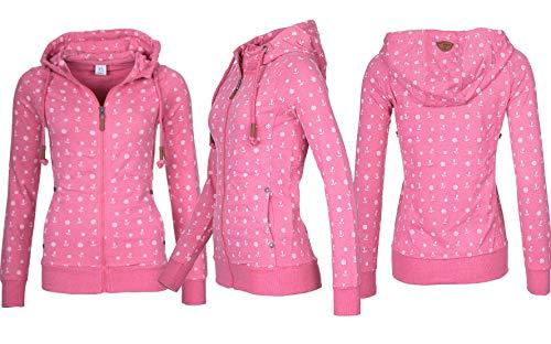 EwigYou Damen Kapuzenjacke Hoodie mit Fleece-Innenseite Sweatshirt Große  Größen Übergangsjacke SweatjackeEU XL Herstellergröße 4XL Rosarot 15dc44ab6a