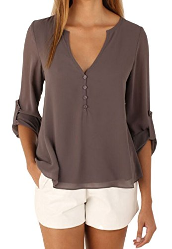OMZIN Damen Langarmshirt V Ausschnitt Oberteile Chiffon Henley Shirt Elegante Blusen Braun M