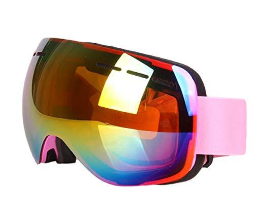 Gyqjs occhialini da sci unisex a doppia patinatura hd visione isolamento abbagliamento radiazioni anti-nebbia neve anti-sabbia occhiali da sole moto motoslitta,pink