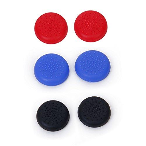 3 Paar Joystick Thumbstick Kappen Kit Ersatz für PlayStation 4 PS4 Kontroller Rot Schwarz Blau