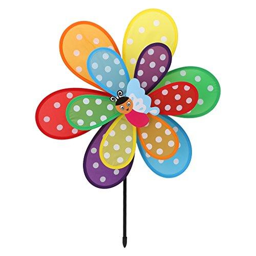 Fogun Windräder, 1 pc Doppelschicht Insekt Windmühle Bunte Wind Spinner Kinder Spielzeug Garten Rasen Hof Decor-Farbe Zufällige (Stoff Windrad)
