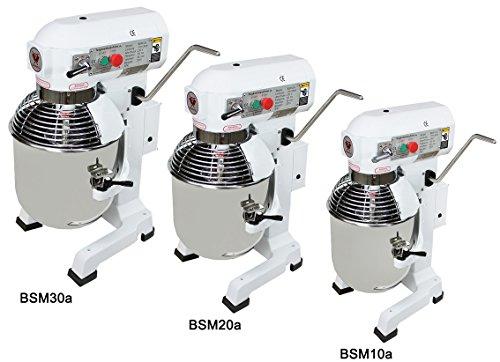Beeketal \'BSM20a\' Profi Teigknetmaschine mit Planetenrührwerk 20 Liter Kapazität (3 Stufen 105, 180, 425 U/min), Knetmaschine inkl. Knethaken, Schneebesen und Flachrührer - weiß lackiert