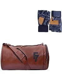 Fashion 7 Tan Duffel Gym Bag & Gym Gloves Combo