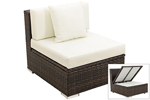 OUTFLEXX Mittelelement aus hochwertigem Poly-Rattan, braun marmoriert mit Kissenboxfunktion, inkl....