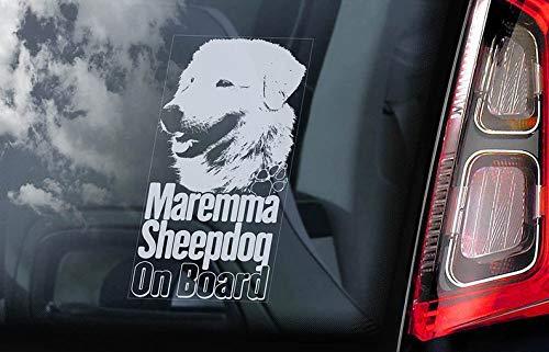 CELYCASY Maremma Sheepdog on Board - Auto Fenster Aufkleber - Pastore Abruzzese Maremmano Hund Schild Aufkleber - V02