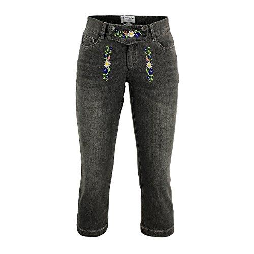 Trachten-Jeans Capri-jeans Grau Stonewashed mit jugendlicher Frische kunstvoller Stickerei 5-Pocket Lederhosen-optik für Volksfest Biergarten Urlaub Freizeit Oktoberfest Damen Hose Baumwolle(38)