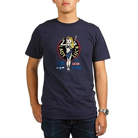 CafePress - Lady Luck Nose Art Organic Men's T-Shirt (Dark) - Organic Men's T-Shirt, Soft Cotton Tee