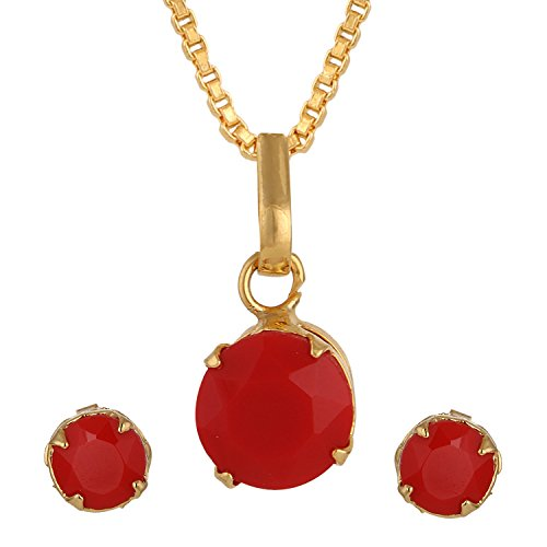 Archi Collection Designer Jewellery Orange American Diamond Pendant with Chain and Earrings for Girls and Women