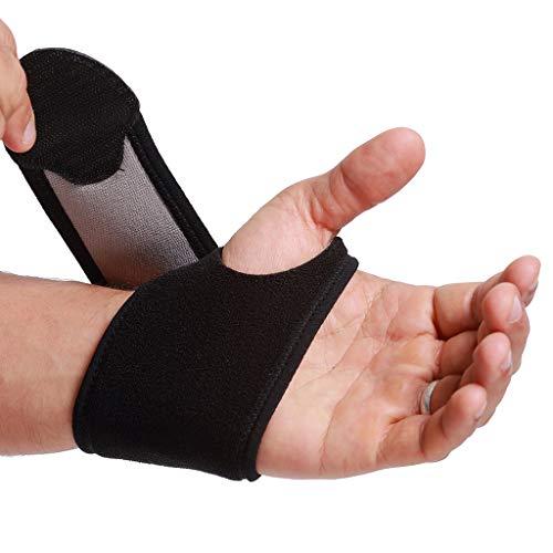 Muñequera ancha de sujeción (1 UNIDAD) - Ligera, elástica y transpirable - Para aliviar los músculos - Compresión ajustable - Marca Neotech Care - Negro (Talla L)