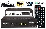 Maxxo T2 Décodeur tuner TNT + télémando pour les PERSONNES ÂGÉES Récepteur / Tuner DVB-T/T2 HDMI USB avec WiFi - DLNA et Youtube