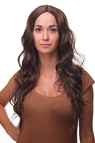 WIG ME UP - Perücke kräftiges Braun Brünett Mittelscheitel langes leicht welliges Haar Wig (Brünette Wellige Perücke)