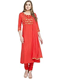 [Sponsored]Haute Curry By Shoppers Stop Womens Round Neck Printed Churidar Suit_Coral_X-Small_203706720_9601