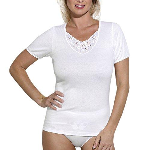 Ott-tricot Damen 1/4 Arm Shirt in Weiß 100% Baumwolle bis Gr.56 Unterwäsche