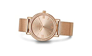 "Timothy Stone Women's I-011-ALMRG ""Indio"" Rose Gold Watch - Swarovski Crystal Embellished Bezel Quartz Movement Stainless Steel Mesh Band"