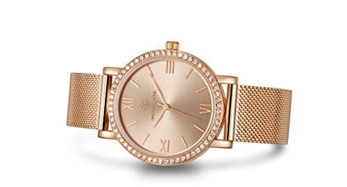 Timothy Stone da donna I-011-ALMRG'Indio' orologio in oro rosa - Swarovski Crystal Bezel impreziosito da movimento al quarzo Cinturino in maglia di acciaio inossidabile