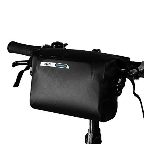 BTR Wasserfeste Allwetter Lenkertasche für jedes Fahrrad mit abnehmbaren Schultergurt und 6 GRATIS Reparaturflicken. Fahrradtasche Wasserdicht Lenkertasche Fahrrad Wasserdicht