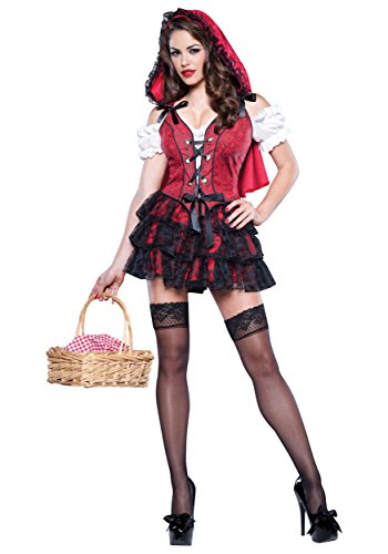 Top Totty Sexy Little Red Halloween-Kostüm Gr. Medium, rot (Sexy Red Riding Hood Halloween Kostüme)