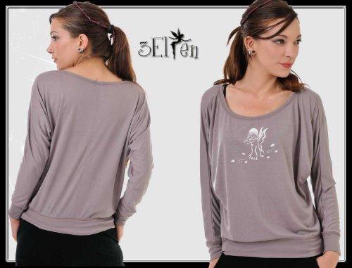 3 Elfen - sweat-shirt Pull sans bretelles - laisser de fée - Femme Brun Blanc