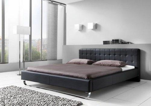 sette notti  Polsterbett Bett 180x200 Schwarz, Kunstleder Bett mit Liegefläche 180x200 cm, Pasadena Art Nr. 667-10-50000