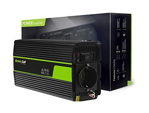Green Cell® 300W/600W Reiner Sinus Spannungswandler Wechselrichter 12V auf 230V Konverter Pure Sine Power Inverter Umwandler für Auto, Direktanschluss an Autobatterie, Zigarettenanzünder Stecker inkl.