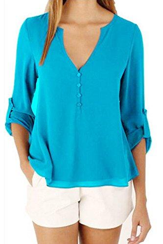 La Femme A Été Adaptée En V En T - Shirt Blouse En Mousseline blue