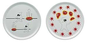 A di Alessi AMGI08 S2 Assiettes à pizza en porcelaine décorée - Set de 2 pièces - Blanc