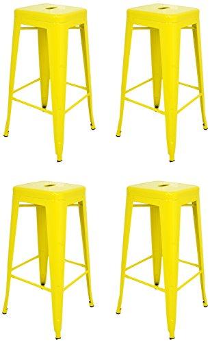 La Chaise Espagnole - Lot de 4 Tabourets de style Tolix, Jaune, 76x43x43