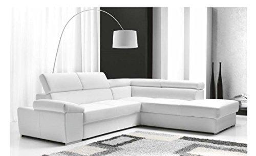 Casarreda divano letto angolare mod. denver con chaise longue dx ecopelle bianco