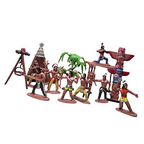 Outtybrave 1 Set Indianer-Stämme Aborigine, Spielpuppe Ornamente Sandkastenspiel mit Figuren