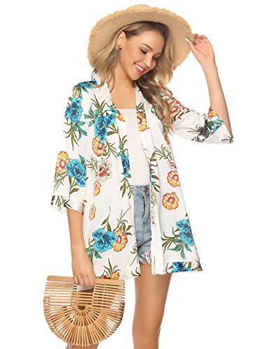 Abollria Damen Kimono Cardigan Floral Print Chiffon Leichte Jacke 3/4 Arm Sommer Strandponcho für Urlaub,Weiß,M