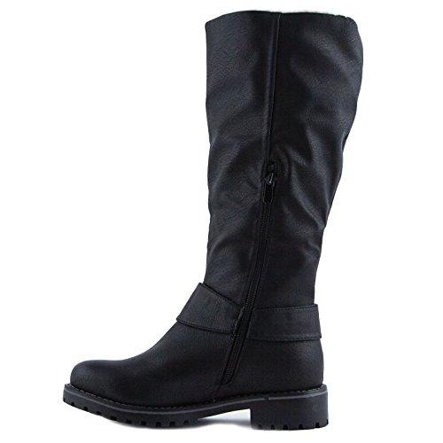 Toocool - Stivali alti biker pelliccia pelo fibbia cinturino scarpe donna nuovi 818-PG Nero