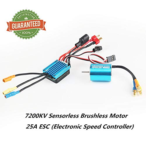 Crazepony-UK 2430 7200KV Sensorless Brushless Combo Motor Set with 25A ESC Electronic Speed Controller Shaft 2mm for 1/16 1/18 RC Car Truck