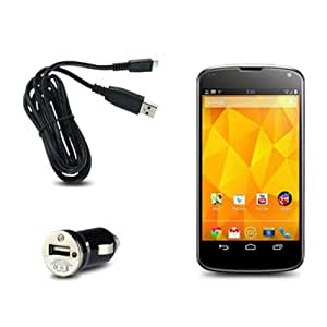 Google Nexus 4 E960 USB Mini Car Charger with Micro USB Cable