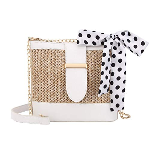 getasche Mode Retro Kleine Schultertasche Gewebte Einfarbiger Schal Gewebte Tasche Strandtasche Kette Tasche Mini Vintage Party Handtaschen Messenger Bag ()