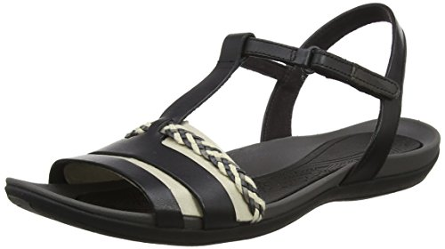 Clarks Tealite Grace, Sandali con Chiusura a T Donna Nero (Black Leather)
