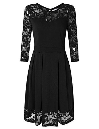 KoJooin Damen Elegant Kleider Spitzenkleid Langarm Cocktailkleid Knielang Rockabilly Kleid Schwarz XS