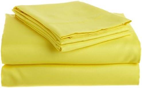 Dreamz lenzuola in cotone per egiziano 200 fili cm², 4 pezzi, per cotone letto matrimoniale, profondità  38,10 (15 ) tasca cm, pezzo singolo, Coloreeee  giallo, 100% cotone, gamma-Set di biancheria da letto 82572f