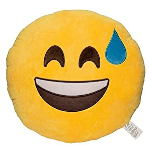Aaf Textiles Brand soft emoticon round yellow cushion pillow