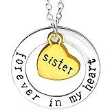 KIRALOVE Collar Siempre en mi corazón, Idea de Regalo para la Familia, Hermana, Bijoux, Familiares, Grabado, cumpleaños, Navidad, día de San Valentín, joyería de Calidad