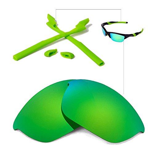 Walleva Wechselgläser Und Earsocks für Oakley Half Jacket 2.0 Sonnenbrille - Mehrfache Optionen (Smaragd Polarisierte Linsen + Grüner Gummi)