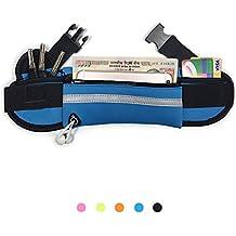 """LJ Unisex deportes cintura paquetes resistente al agua corredores cinturón riñonera para senderismo y Fitness ajustable correr Funda auricular agujero teléfonos móviles tamaño más pequeño que 6"""", azul"""