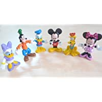 6pcs Mickey Mouse Minnie Donald Duck Goofy Clubhouse PVC Figure Cute Kids Gif