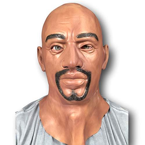 Kostüm Schwarzer Spitzbart - Realistische Latex Maske Schwarz Herren Man Verkleidung Halloween Kostüm Spitzbart Bart