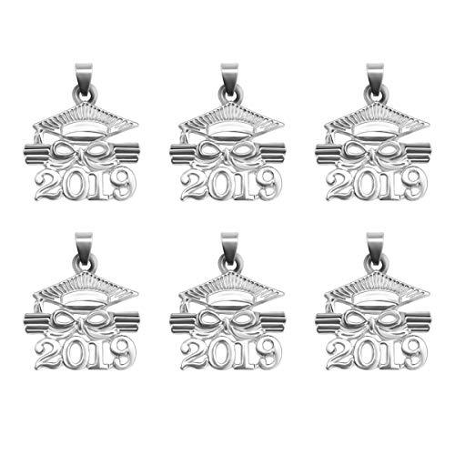 2019 Dr. Cap Diplom Anhänger Zinklegierung Zubehör Graduation Souvenir Geschenk für Schmuckherstellung DIY (Weiß) (Graduation Diy Cap)