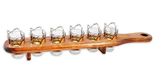 6 Shooter Gläser mit Servierlatte aus Holz - 45 cm - Cooles Party und Kneipen Gadget (Holz Glas Shot)