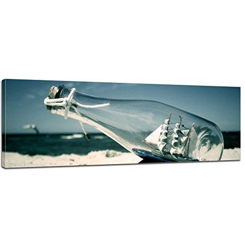 Keilrahmenbild - Buddelschiff - Schiff in der Flasche - Bild auf Leinwand - 120x40 cm einteilig - Leinwandbilder - Urlaub, Sonne & Meer - Strand - Modell